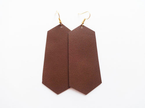 Coffee Grind Brown Jewel Vegan Leather Earring
