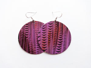 Grape Soda Purple Round Genuine Leather Earring