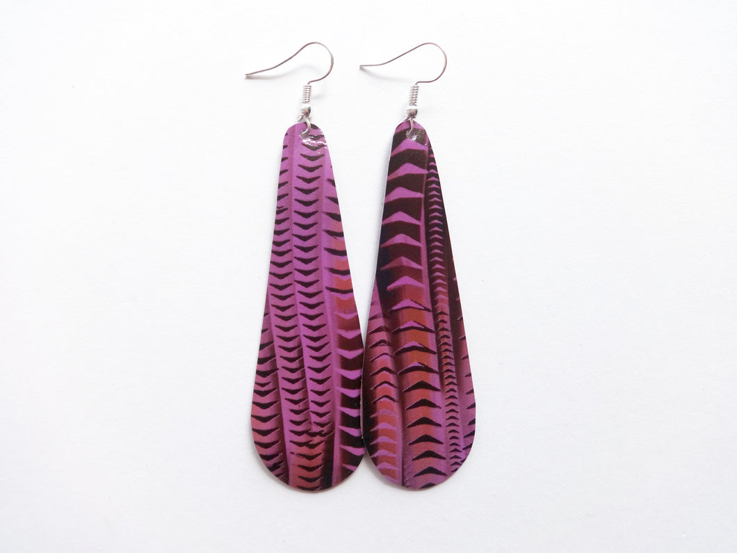 Grape Soda Purple Teardrop Genuine Leather Earring