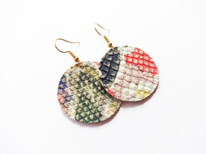 Primrose Floral Round Genuine Leather Earring