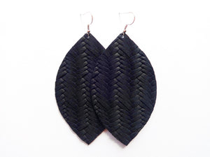 Black Opal Braided Leaf Genuine Leather Earring