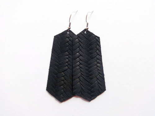 Black Opal Braided Jewel Genuine Leather Earring