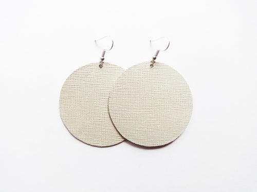 Tofu White Saffiano Round Genuine Leather Earring
