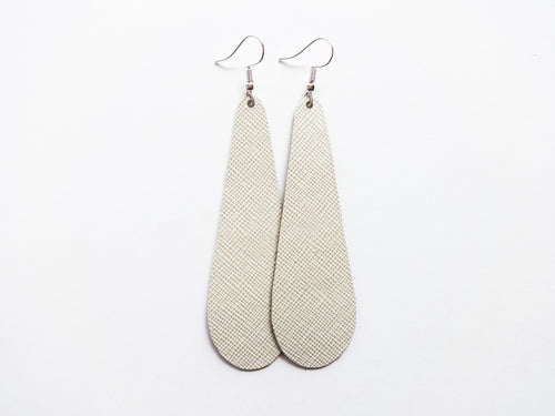 Tofu White Saffiano Teardrop Genuine Leather Earring