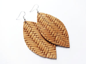 Cognac Tan Braided Leaf Genuine Leather Earring