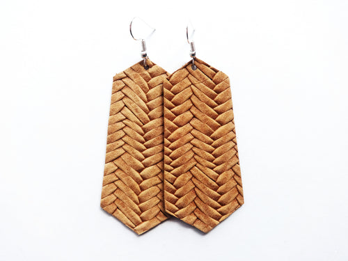 Cognac Tan Braided Jewel Genuine Leather Earring