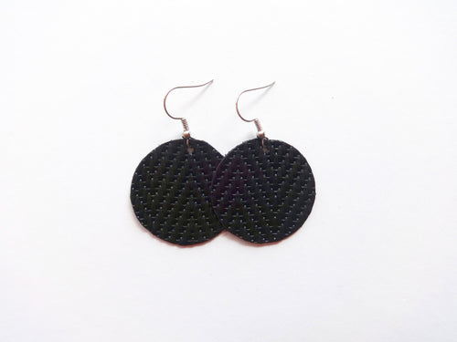 Black Woven Round Genuine Leather Earring