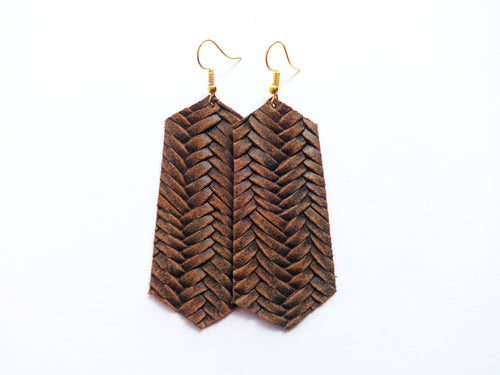 Chocolate Brown Braided Jewel Genuine Leather Earring