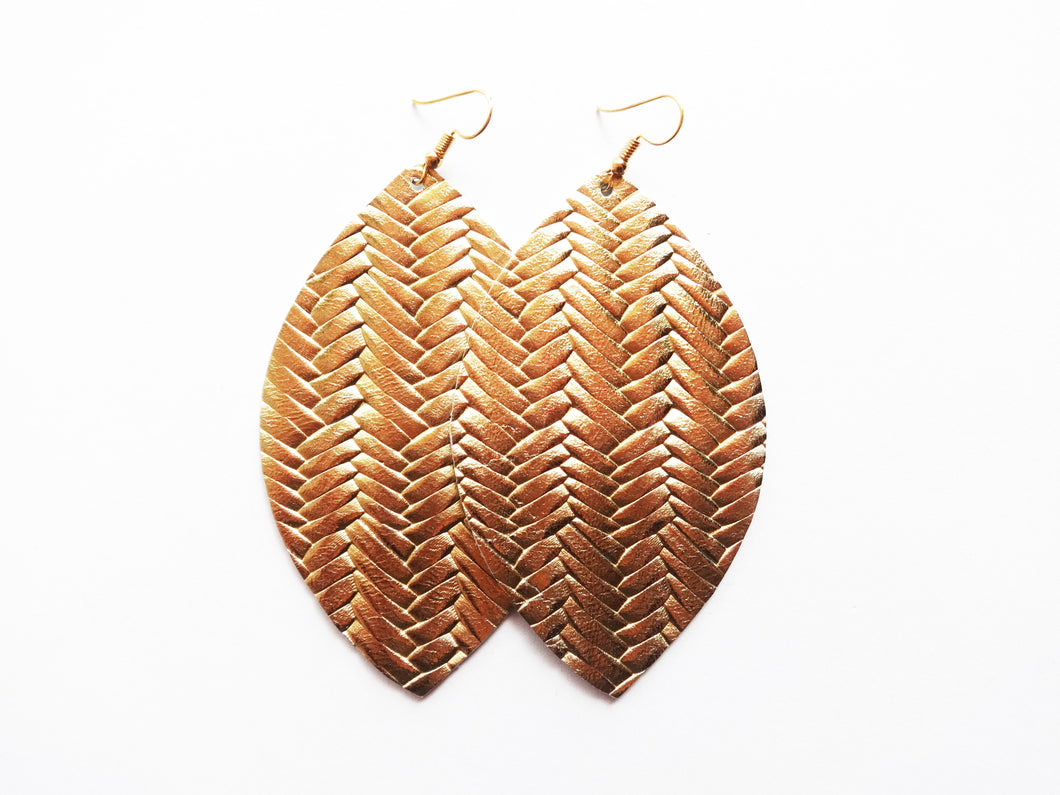 Opulent Gold Braided Leaf Genuine Leather Earring