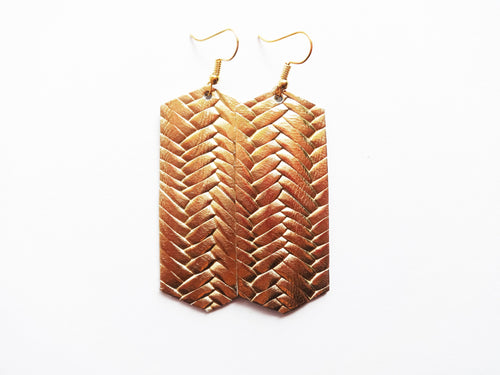 Opulent Gold Braided Crystal Genuine Leather Earring