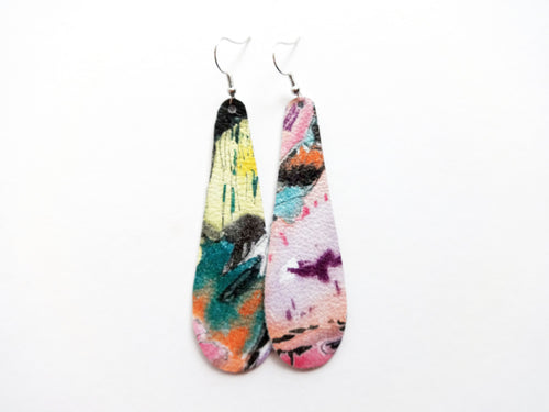 Abstract Painting Teardrop Genuine Leather Earring