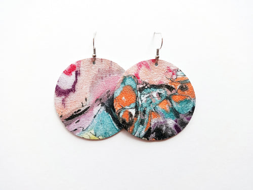 Abstract Painting Round Genuine Leather Earring