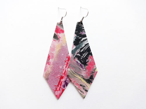 Abstract Painting Diamond Genuine Leather Earring