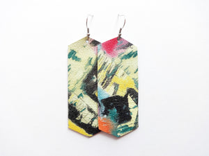 Abstract Painting Crystal Genuine Leather Earring