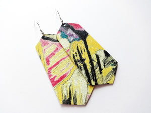 Abstract Painting Jewel Genuine Leather Earring