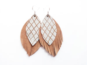 Sandy Beach Double Layer Fringe Leaf Genuine Leather Earring