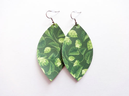 Hop Plant Green Beer Leaf Vegan Leather Earrings