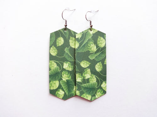 Hop Plant Green Beer Crystal Vegan Leather Earring
