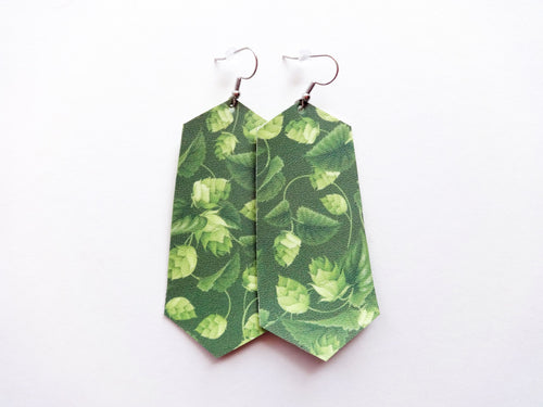 Hop Plant Green Beer Jewel Vegan Leather Earrings