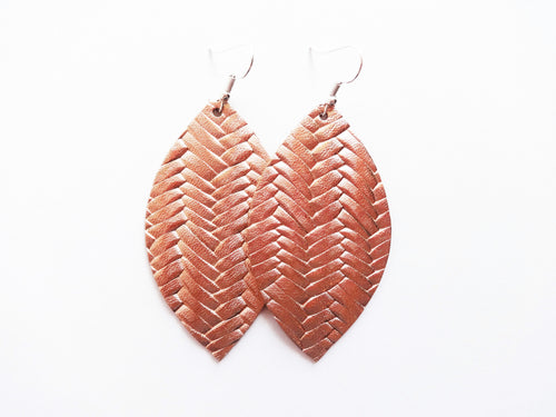 Rose Gold Braided Leaf Genuine Leather Earring