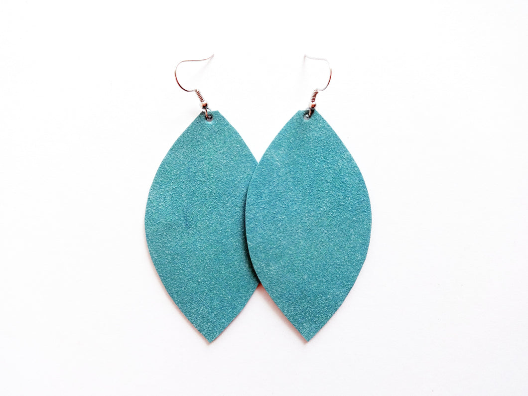 Turquoise Suede Leaf Vegan Leather Earrings