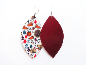 Pumpkin Pie Leaf Vegan Leather Earrings