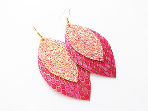 Pink Honeycomb Glitter Double Layer Leaf Vegan Leather Earring