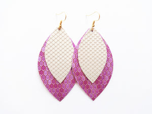 Purple Honeycomb Double Layer Leaf Vegan Leather Earring