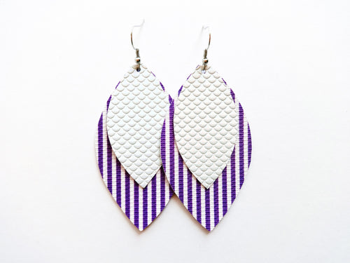 Purple Stripe Double Layer Leaf Vegan Leather Earring