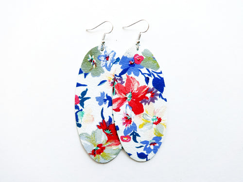 Flirty Floral Oval Genuine Leather Earring
