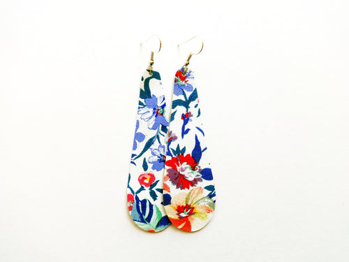Flirty Floral Teardrop Genuine Leather Earring