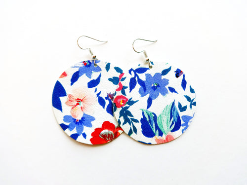 Flirty Floral Round Genuine Leather Earring