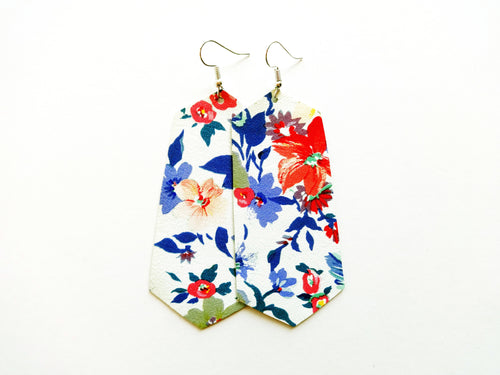 Flirty Floral Jewel Genuine Leather Earring