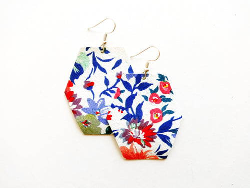 Flirty Floral Hexagon Genuine Leather Earring