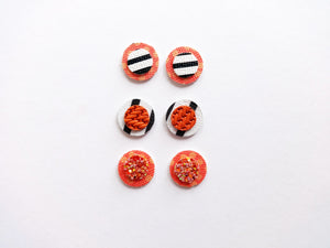 Double Round Glitter Stud Vegan and Genuine Leather Earring