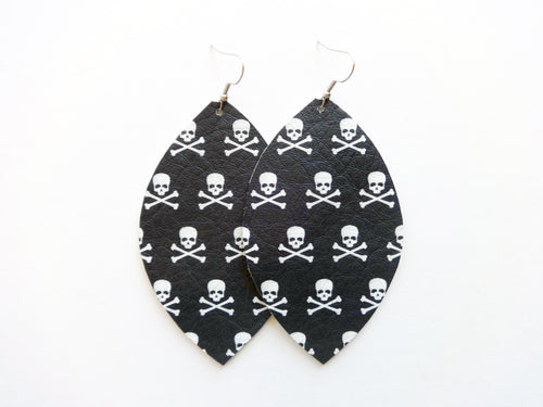 Poison Skull Leaf Genuine Leather Earring