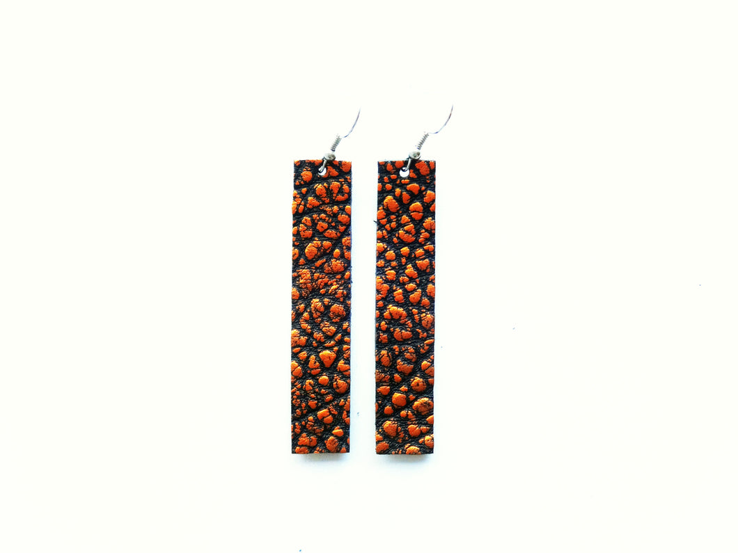 Orange Texture Bar Genuine Leather Earring