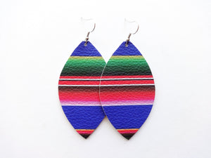 Serape Striped Leaf Genuine Leather Earring