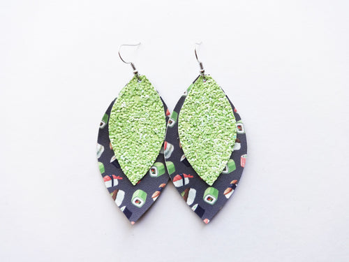 Sushi Date Glitter Double Layer Leaf Vegan Leather Earring