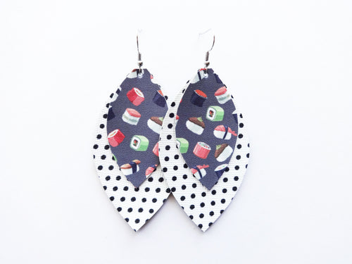 Sushi Dot Double Layer Leaf Vegan Leather Earring