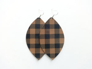 Camel Buffalo Plaid Leaf Vegan Leather Earrings