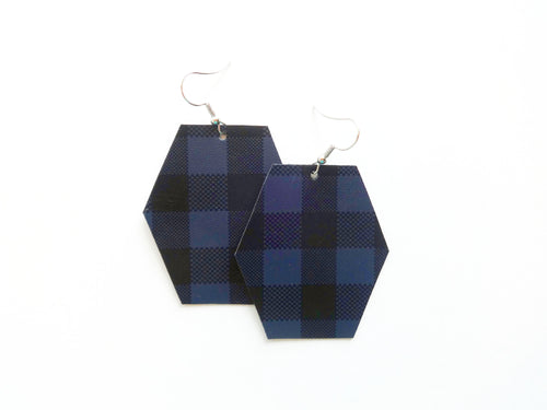 Navy Buffalo Plaid Hexagon Vegan Leather Earring