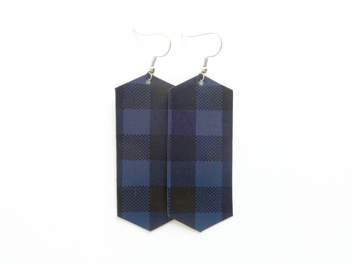 Navy Buffalo Plaid Crystal Vegan Leather Earring