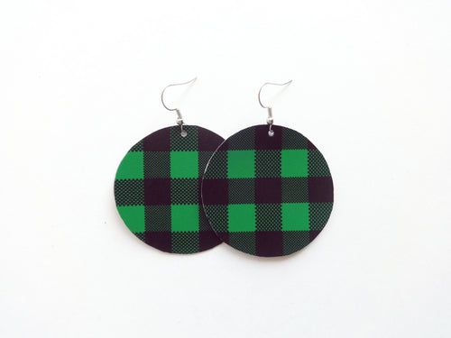Kelly Green Buffalo Plaid Round Vegan Leather Earring