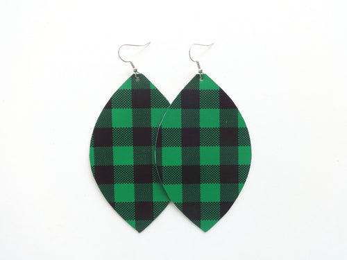 Kelly Green Buffalo Plaid Leaf Vegan Leather Earrings