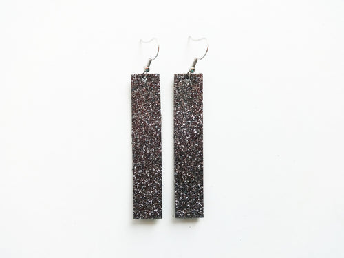 Gunmetal Glitter Silver Bar Genuine Leather Earring