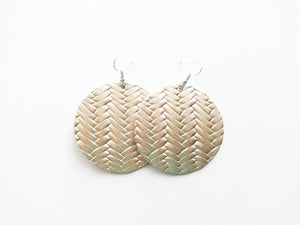 Poppin Champagne Braided Round Genuine Leather Earring