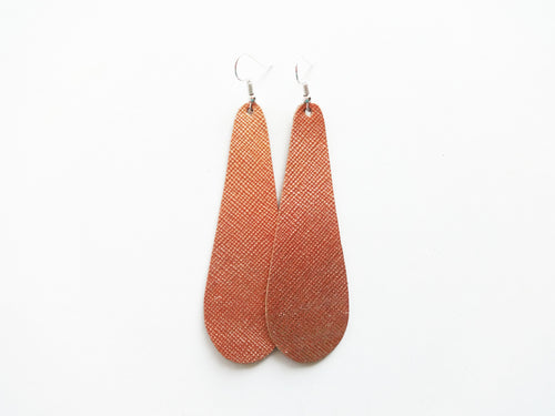 Rose Gold Saffiano Teardrop Genuine Leather Earring