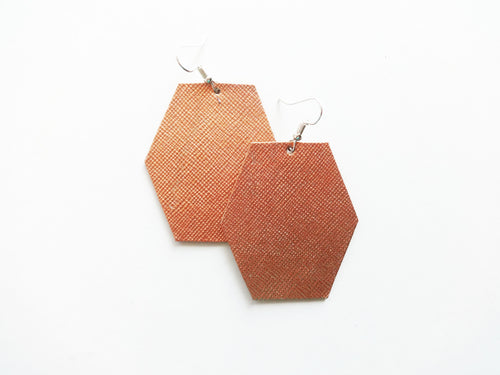 Rose Gold Saffiano Hexagon Genuine Leather Earring