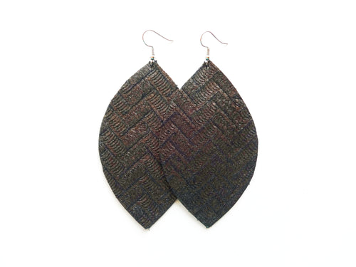 Gunmetal Silver Zig Zag Leaf Genuine Leather Earring